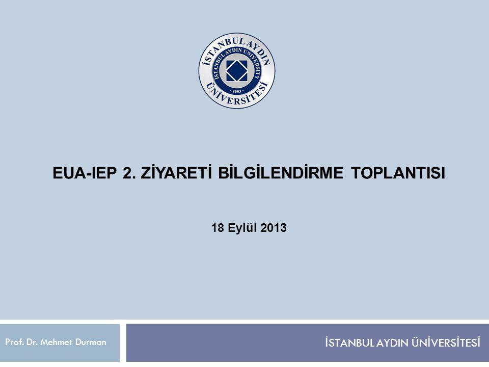 İAÜ SER RAPORU  İAÜ'nün EUA-IEP kapsamında değerlendirilme süreci 5 Temmuz 2012 tarihinde IEP başvuru yapılması ile başlatılmış, üniversite içerisinde Prof.