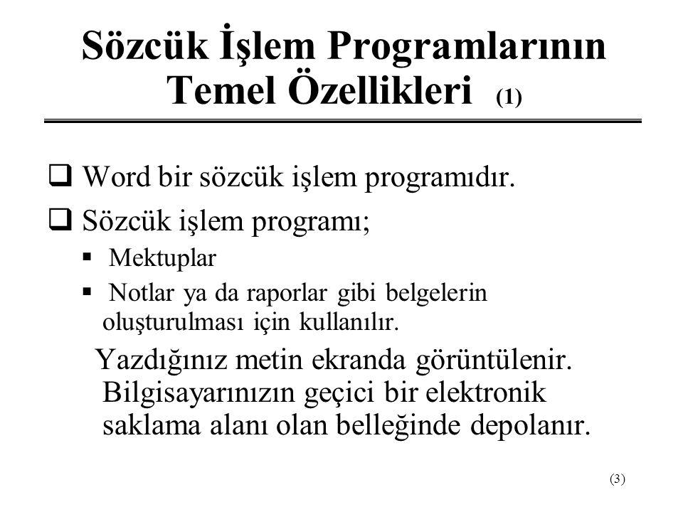 (3) Sözcük İşlem Programlarının Temel Özellikleri (1)  Word bir sözcük işlem programıdır.  Sözcük işlem programı;  Mektuplar  Notlar ya da raporla
