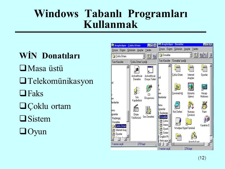 (12) Windows Tabanlı Programları Kullanmak WİN Donatıları  Masa üstü  Telekomünikasyon  Faks  Çoklu ortam  Sistem  Oyun