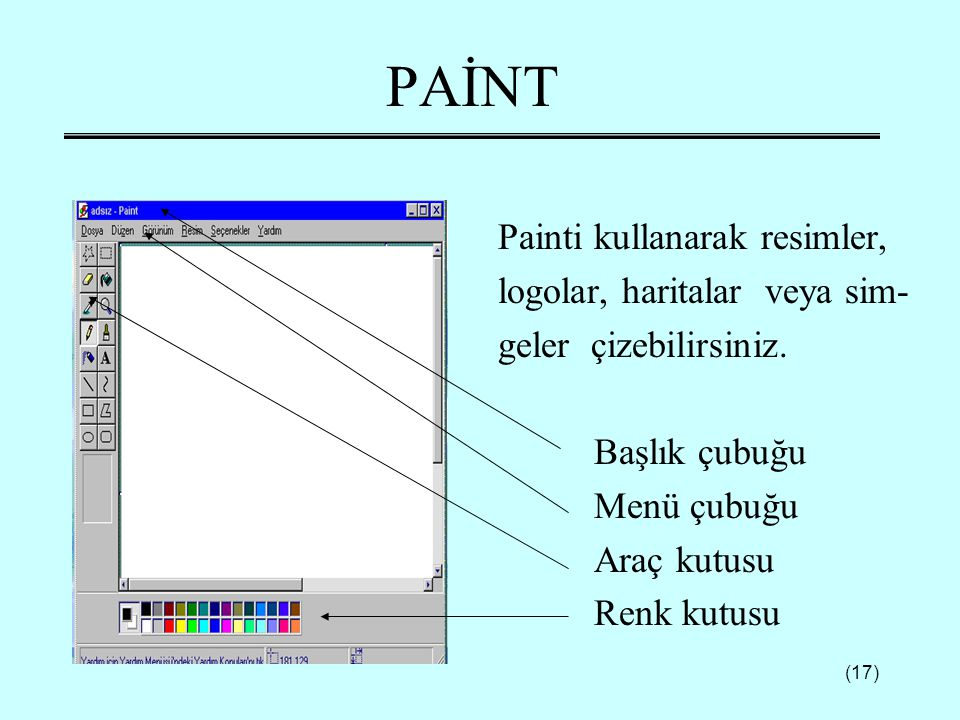 (17) PAİNT Painti kullanarak resimler, logolar, haritalar veya sim- geler çizebilirsiniz. Başlık çubuğu Menü çubuğu Araç kutusu Renk kutusu