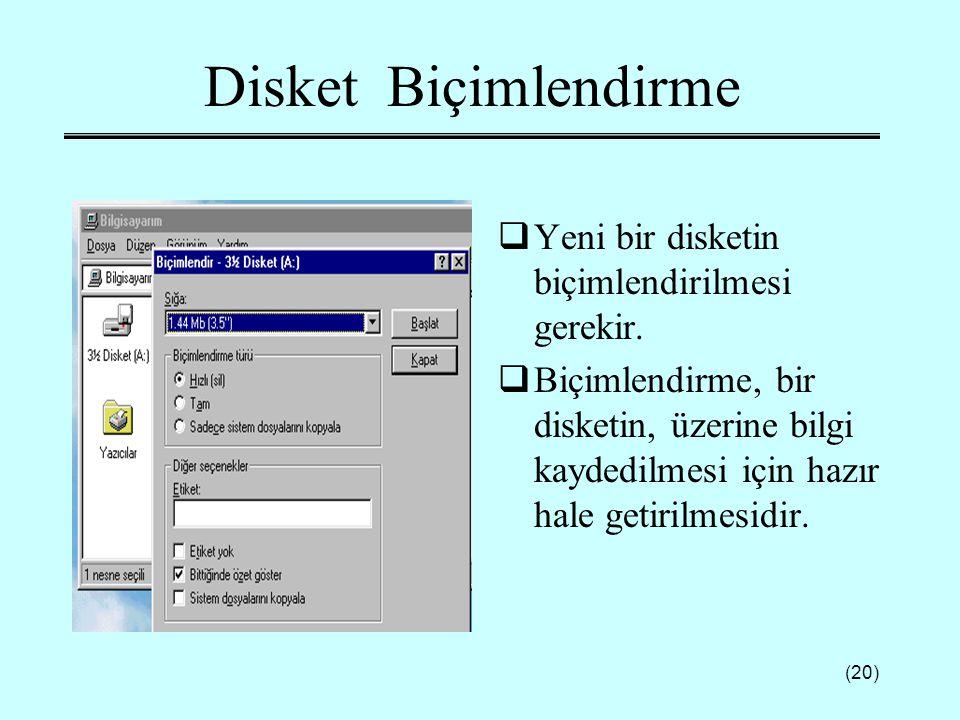 (20) Disket Biçimlendirme  Yeni bir disketin biçimlendirilmesi gerekir.  Biçimlendirme, bir disketin, üzerine bilgi kaydedilmesi için hazır hale get