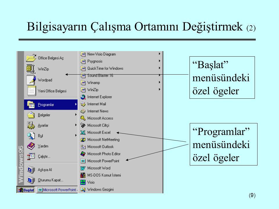 """(9) Bilgisayarın Çalışma Ortamını Değiştirmek (2) """"Başlat"""" menüsündeki özel ögeler """"Programlar"""" menüsündeki özel ögeler"""