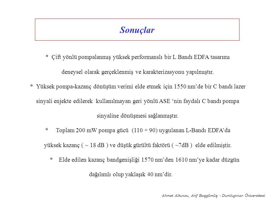 Sonuçlar Ahmet Altuncu, Arif Başgümüş - Dumlupınar Üniversitesi * Çift yönlü pompalanmış yüksek performanslı bir L Bandı EDFA tasarımı deneysel olarak