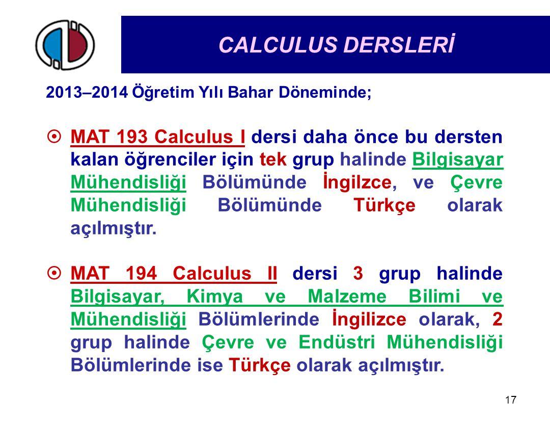 17 2013–2014 Öğretim Yılı Bahar Döneminde;  MAT 193 Calculus I dersi daha önce bu dersten kalan öğrenciler için tek grup halinde Bilgisayar Mühendisl