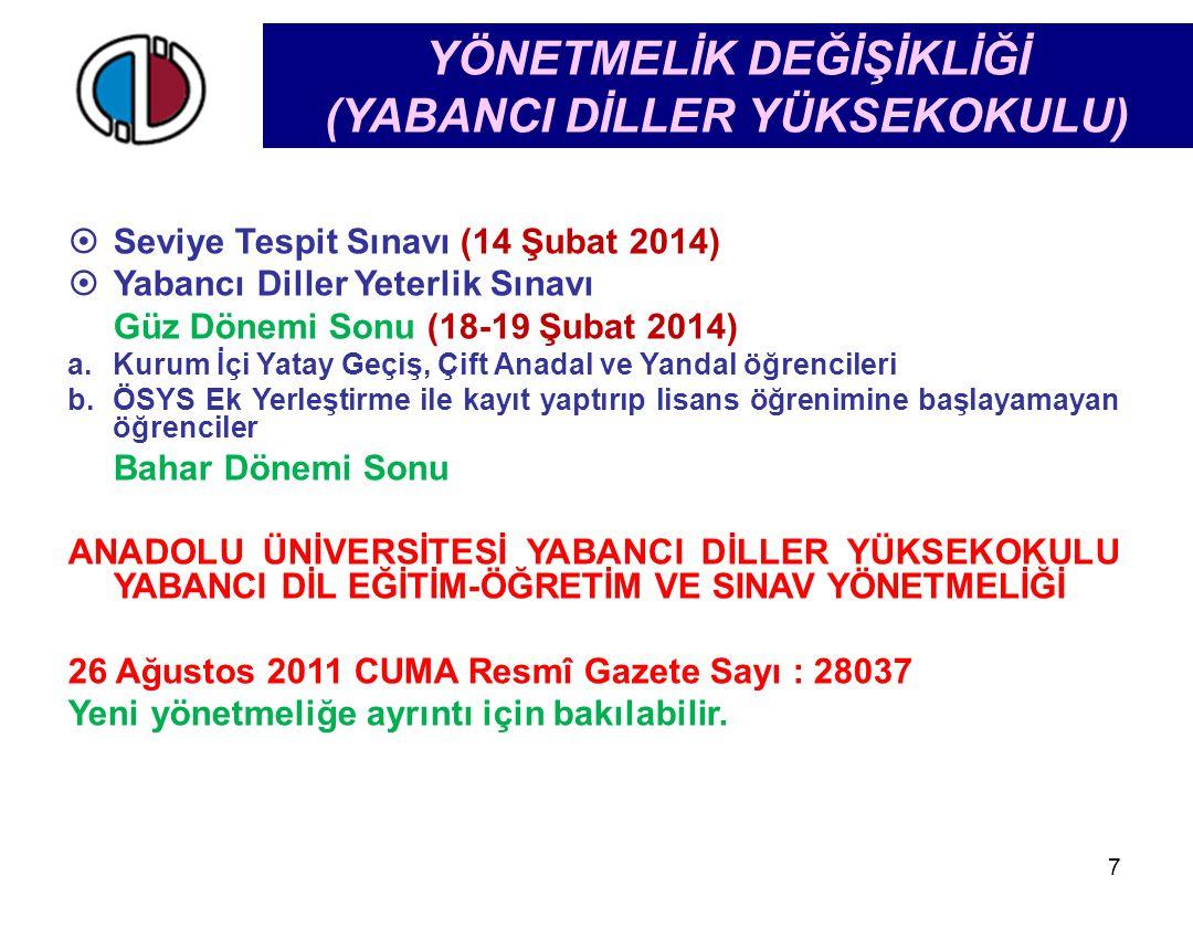 YÖNETMELİK DEĞİŞİKLİĞİ (YABANCI DİLLER YÜKSEKOKULU) 7  Seviye Tespit Sınavı (14 Şubat 2014)  Yabancı Diller Yeterlik Sınavı Güz Dönemi Sonu (18-19 Ş