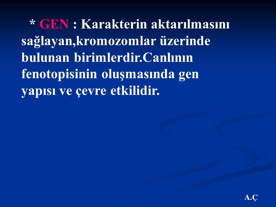 A.Ç * GEN : Karakterin aktarılmasını sağlayan,kromozomlar üzerinde bulunan birimlerdir.Canlının fenotopisinin oluşmasında gen yapısı ve çevre etkilidir.