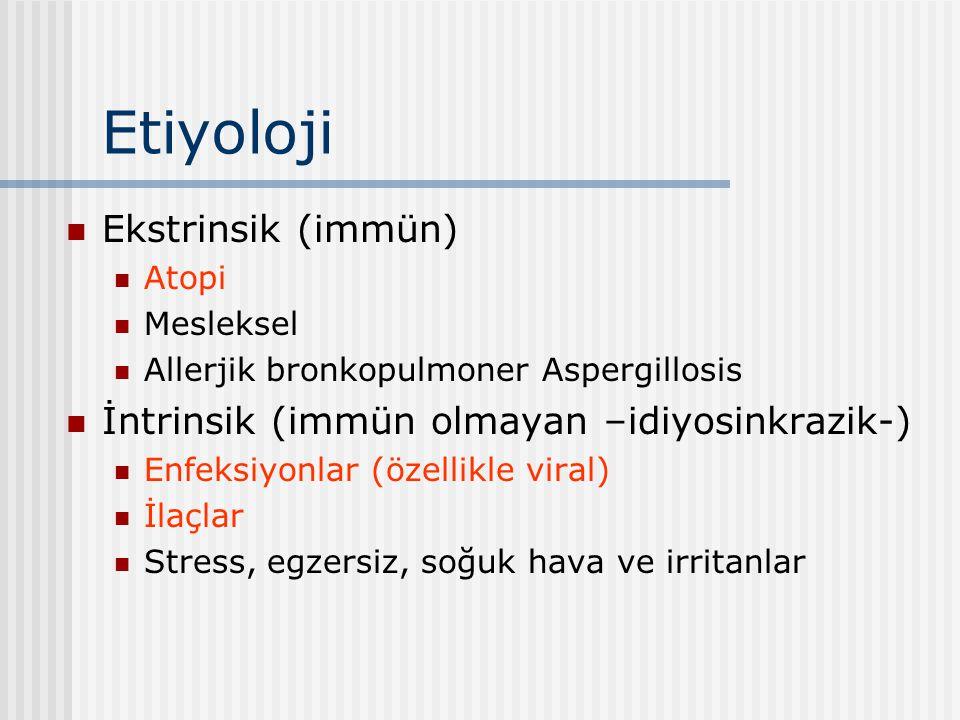 Etiyoloji Ekstrinsik (immün) Atopi Mesleksel Allerjik bronkopulmoner Aspergillosis İntrinsik (immün olmayan –idiyosinkrazik-) Enfeksiyonlar (özellikle
