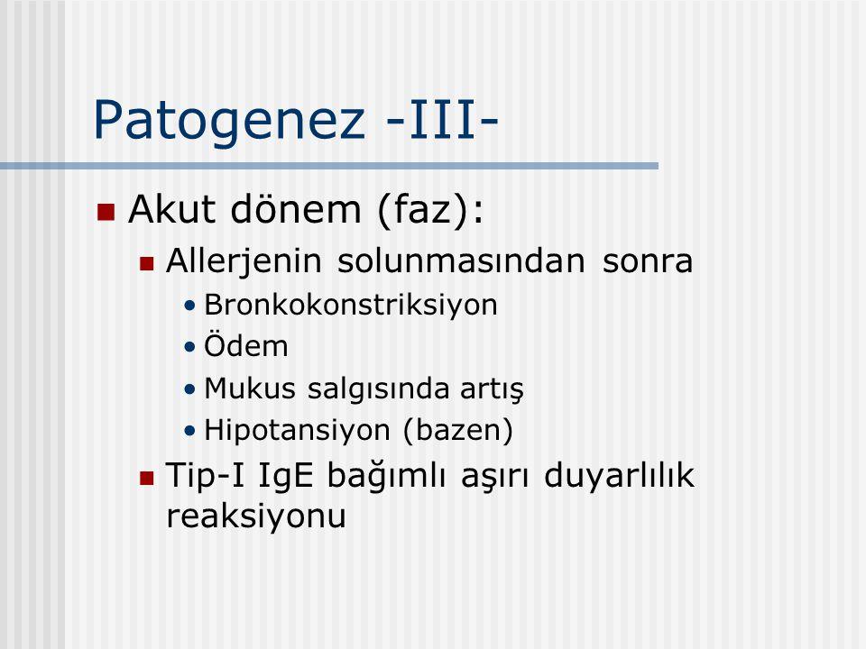 Patogenez -III- Akut dönem (faz): Allerjenin solunmasından sonra Bronkokonstriksiyon Ödem Mukus salgısında artış Hipotansiyon (bazen) Tip-I IgE bağıml