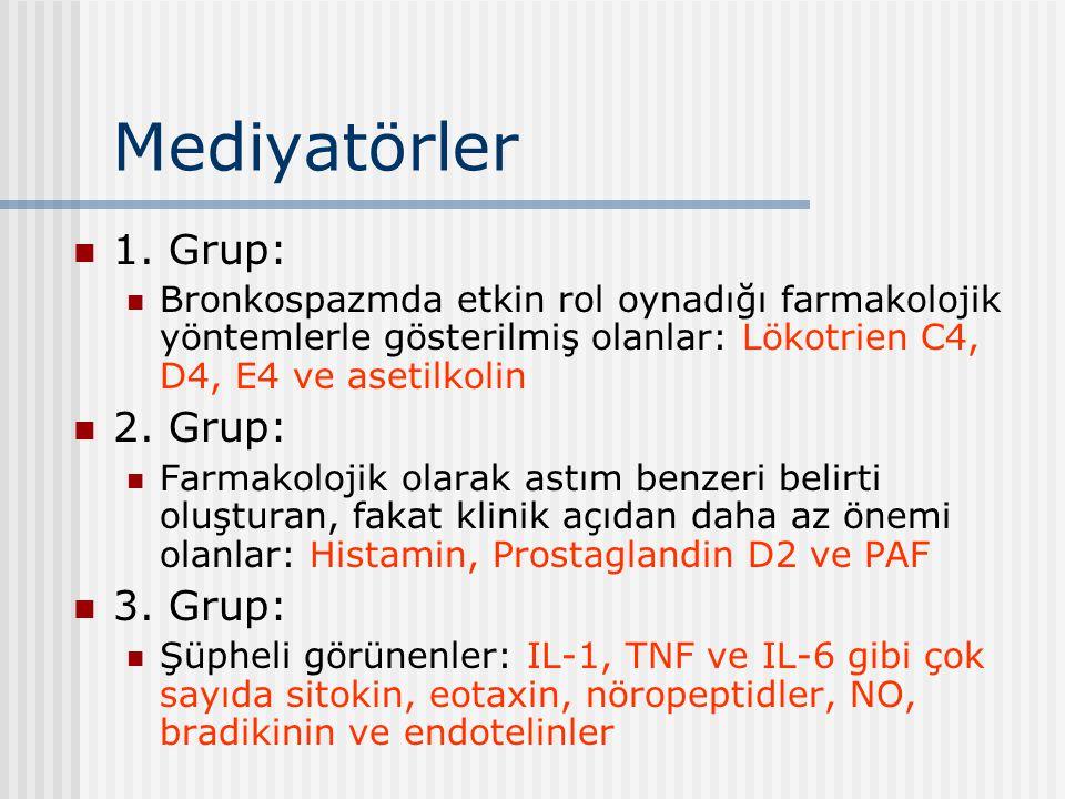 Mediyatörler 1. Grup: Bronkospazmda etkin rol oynadığı farmakolojik yöntemlerle gösterilmiş olanlar: Lökotrien C4, D4, E4 ve asetilkolin 2. Grup: Farm