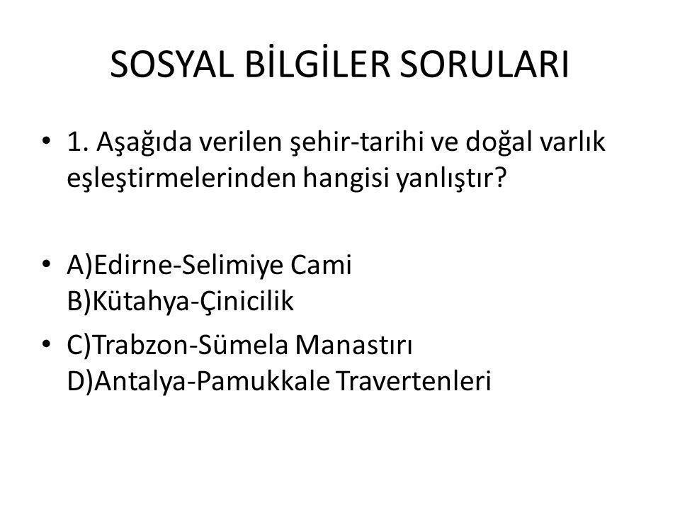 SOSYAL BİLGİLER SORULARI 1.