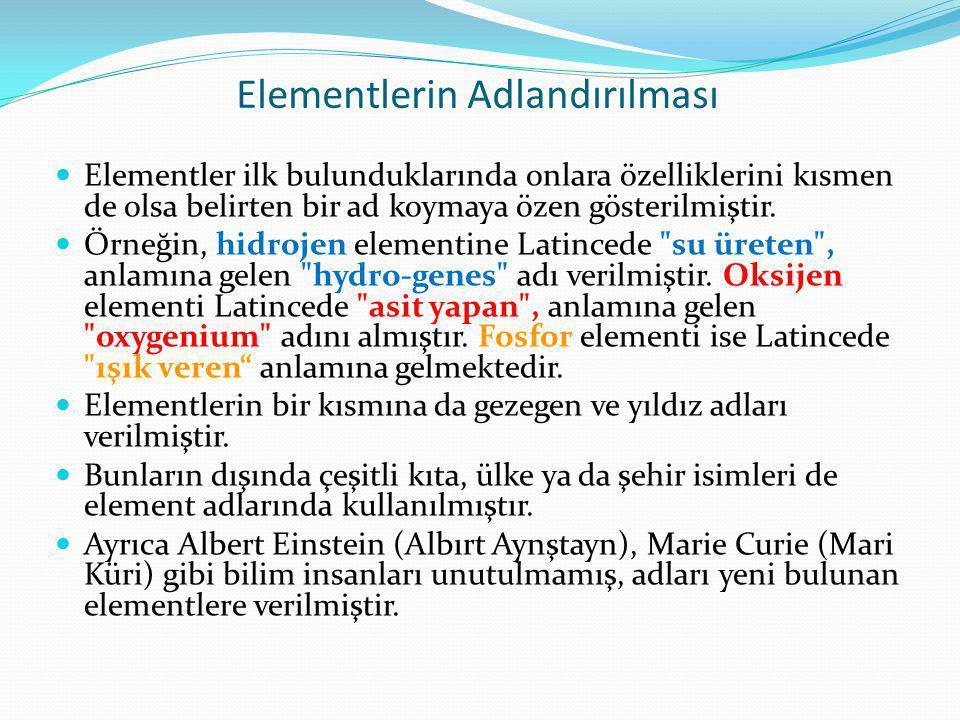 Elementlerin Adlandırılması Elementler ilk bulunduklarında onlara özelliklerini kısmen de olsa belirten bir ad koymaya özen gösterilmiştir.