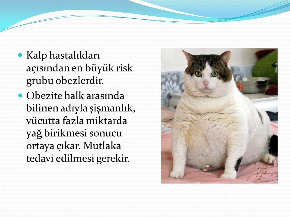 Kalp hastalıkları açısından en büyük risk grubu obezlerdir. Obezite halk arasında bilinen adıyla şişmanlık, vücutta fazla miktarda yağ birikmesi sonuc