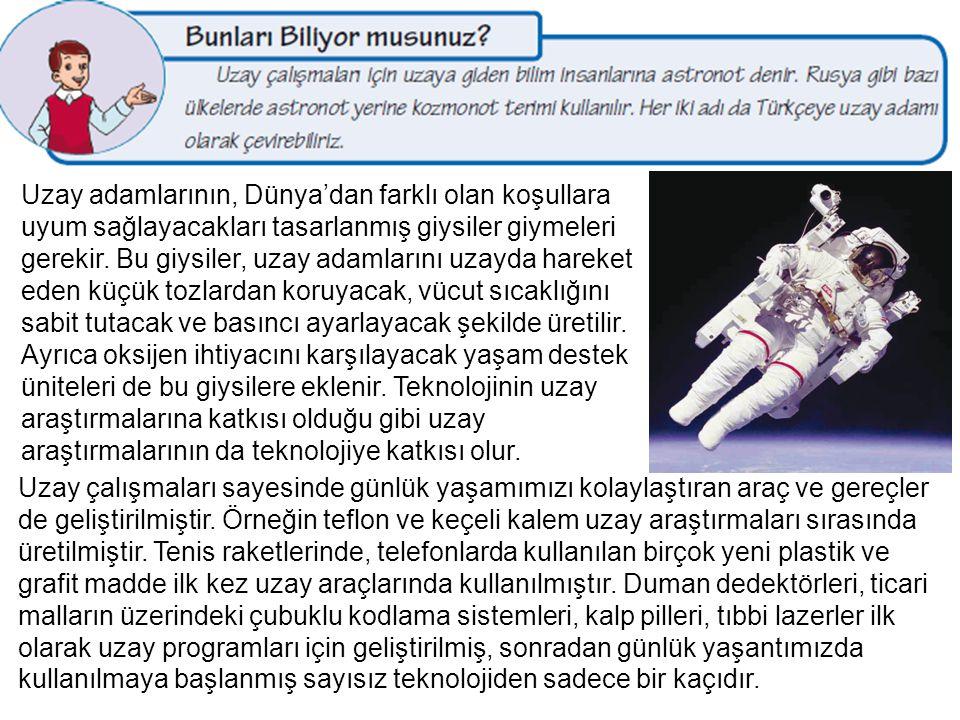Uzay adamlarının, Dünya'dan farklı olan koşullara uyum sağlayacakları tasarlanmış giysiler giymeleri gerekir. Bu giysiler, uzay adamlarını uzayda hare