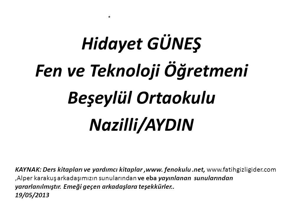 Hidayet GÜNEŞ Fen ve Teknoloji Öğretmeni Beşeylül Ortaokulu Nazilli/AYDIN KAYNAK: Ders kitapları ve yardımcı kitaplar,www. fenokulu.net, www.fatihgizl