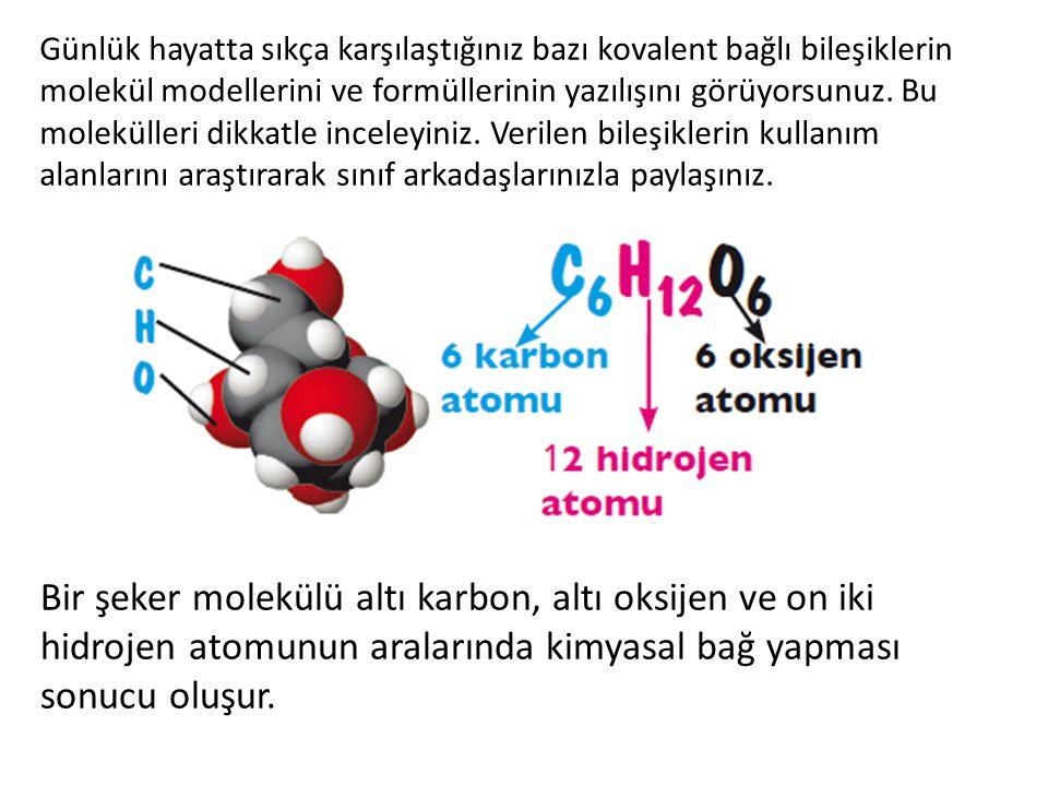 Günlük hayatta sıkça karşılaştığınız bazı kovalent bağlı bileşiklerin molekül modellerini ve formüllerinin yazılışını görüyorsunuz. Bu molekülleri dik