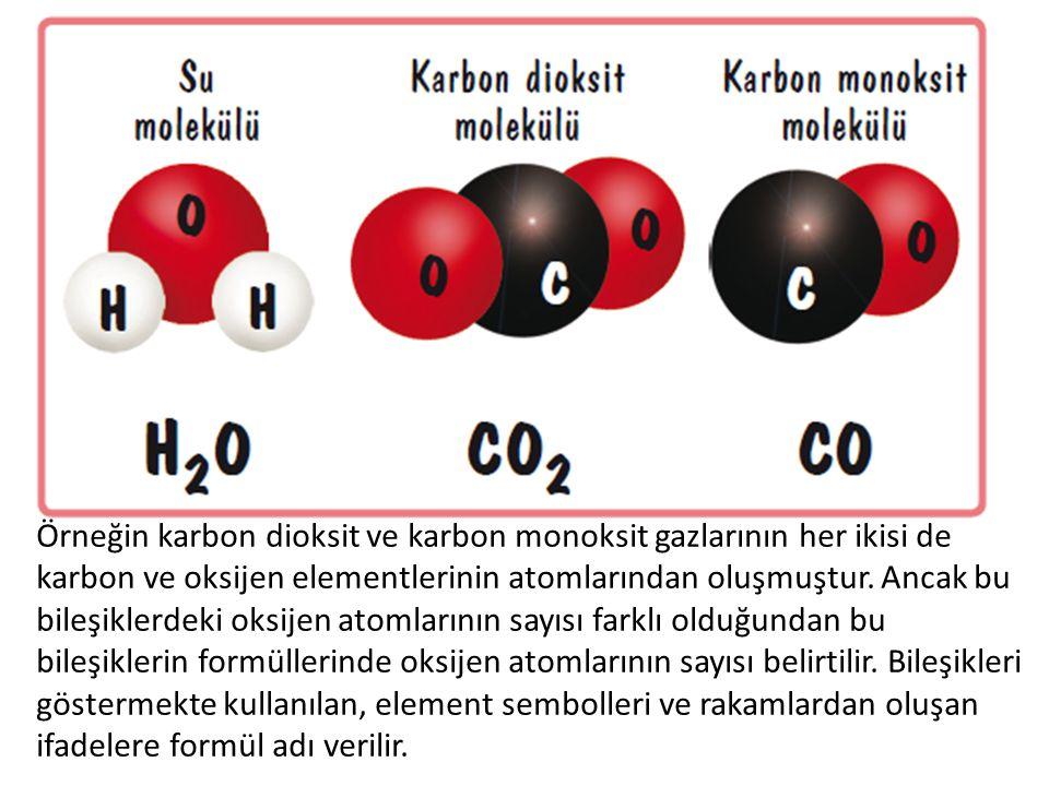 Örneğin karbon dioksit ve karbon monoksit gazlarının her ikisi de karbon ve oksijen elementlerinin atomlarından oluşmuştur. Ancak bu bileşiklerdeki ok