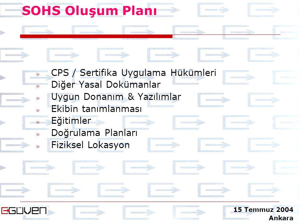 SOHS Oluşum Planı CPS » CPS / Sertifika Uygulama Hükümleri » Diğer Yasal Dokümanlar » Uygun Donanım & Yazılımlar » Ekibin tanımlanması » Eğitimler » D