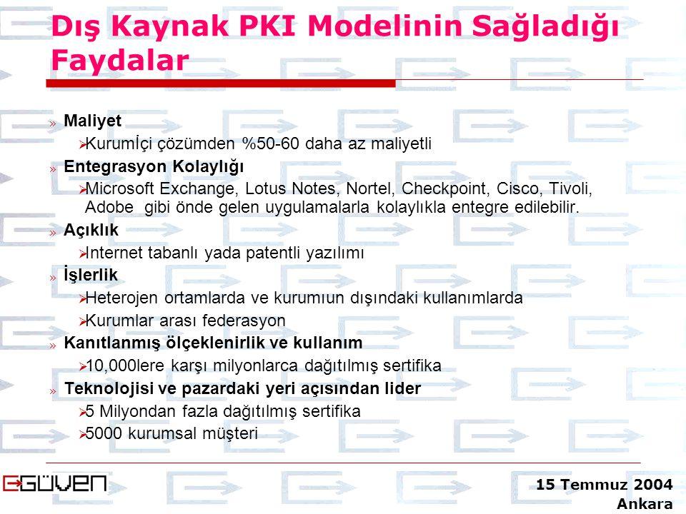 Dış Kaynak PKI Modelinin Sağladığı Faydalar » Maliyet  Kurumİçi çözümden %50-60 daha az maliyetli » Entegrasyon Kolaylığı  Microsoft Exchange, Lotus