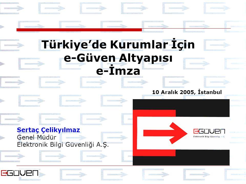 Sertaç Çelikyılmaz Genel Müdür Elektronik Bilgi Güvenliği A.Ş. Türkiye'de Kurumlar İçin e-Güven Altyapısı e-İmza 10 Aralık 2005, İstanbul