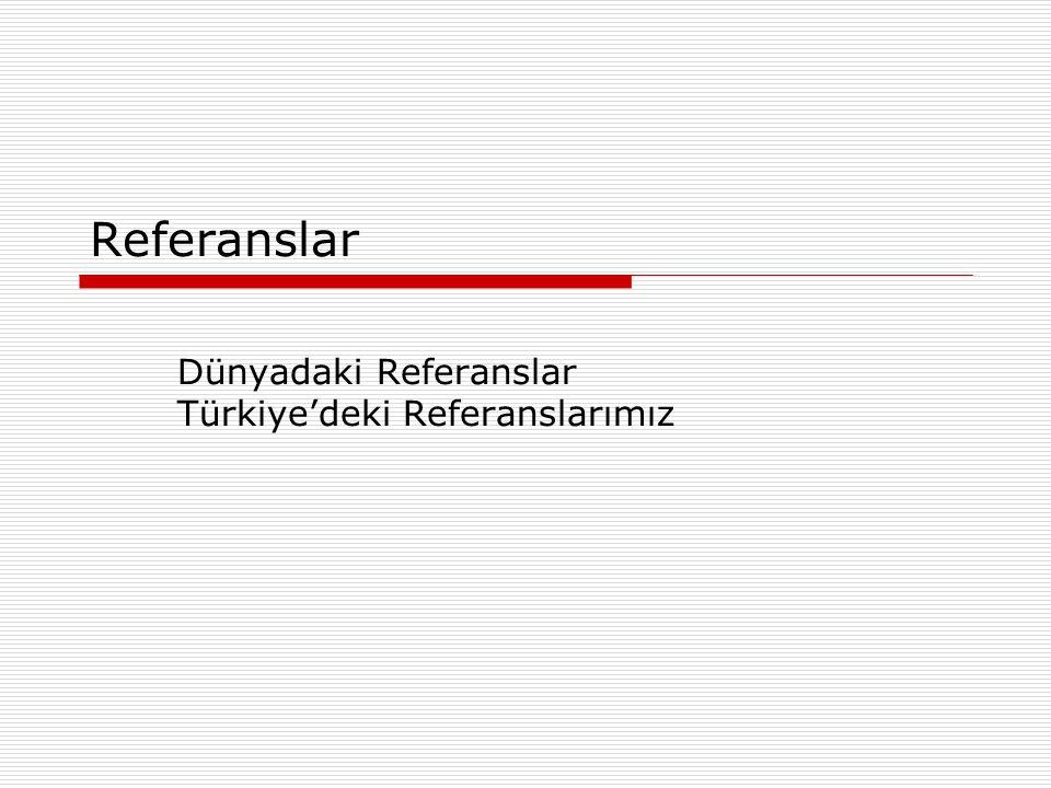 Referanslar Dünyadaki Referanslar Türkiye'deki Referanslarımız