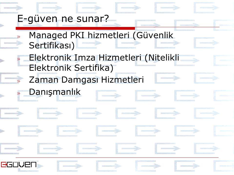 E-güven ne sunar? » Managed PKI hizmetleri (Güvenlik Sertifikası) » Elektronik Imza Hizmetleri (Nitelikli Elektronik Sertifika) » Zaman Damgası Hizmet