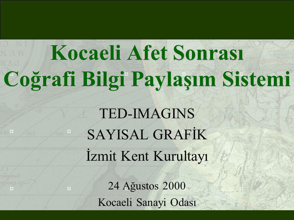 Kocaeli Afet Sonrası Coğrafi Bilgi Paylaşım Sistemi TED-IMAGINS SAYISAL GRAFİK İzmit Kent Kurultayı 24 Ağustos 2000 Kocaeli Sanayi Odası