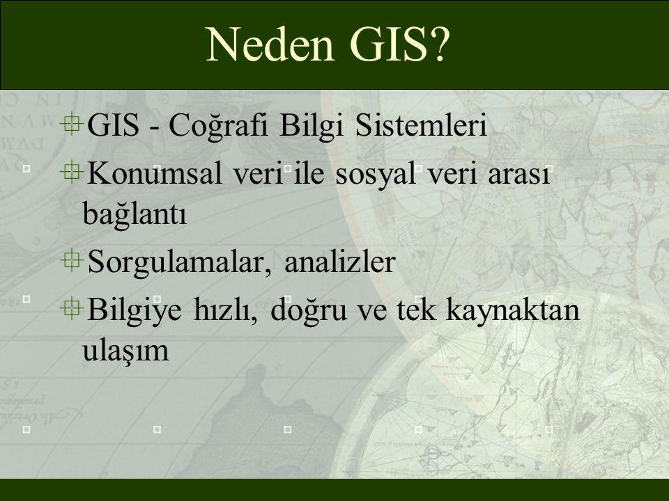 Neden GIS?  GIS - Coğrafi Bilgi Sistemleri  Konumsal veri ile sosyal veri arası bağlantı  Sorgulamalar, analizler  Bilgiye hızlı, doğru ve tek kay