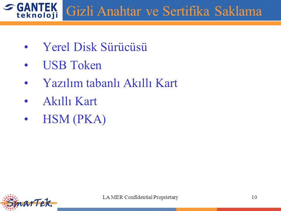 LA MER Confidential Proprietary10 Yerel Disk Sürücüsü USB Token Yazılım tabanlı Akıllı Kart Akıllı Kart HSM (PKA) Gizli Anahtar ve Sertifika Saklama