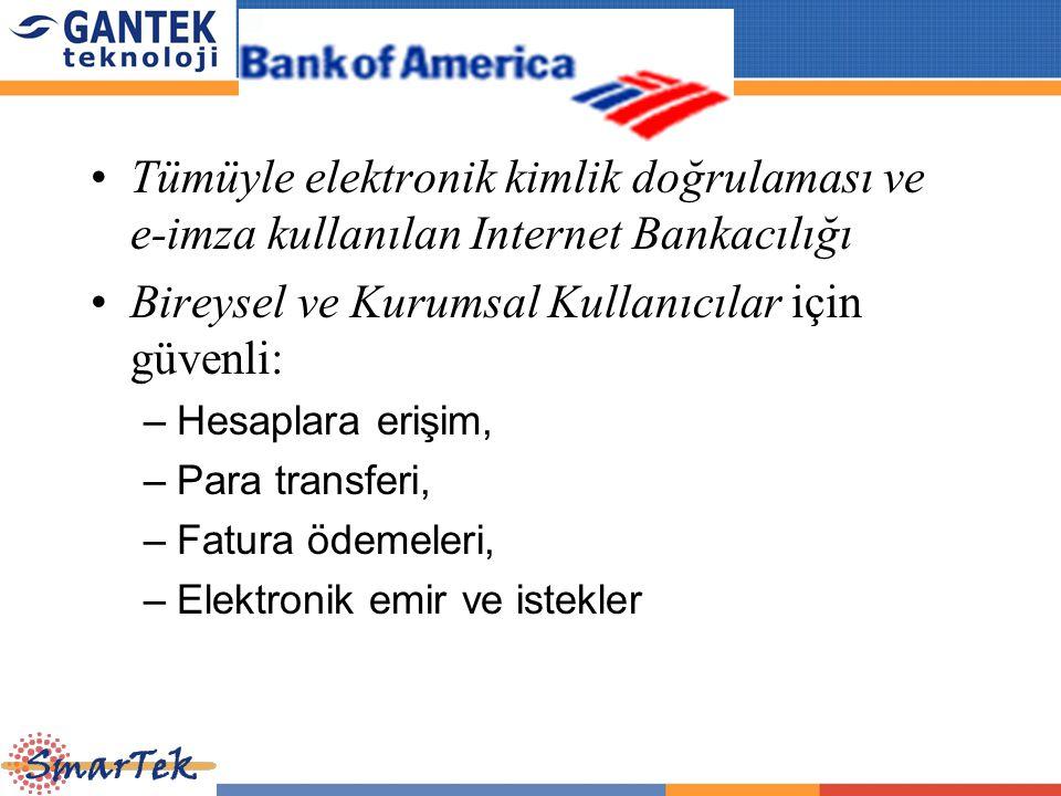 Tümüyle elektronik kimlik doğrulaması ve e-imza kullanılan Internet Bankacılığı Bireysel ve Kurumsal Kullanıcılar için güvenli: –Hesaplara erişim, –Pa