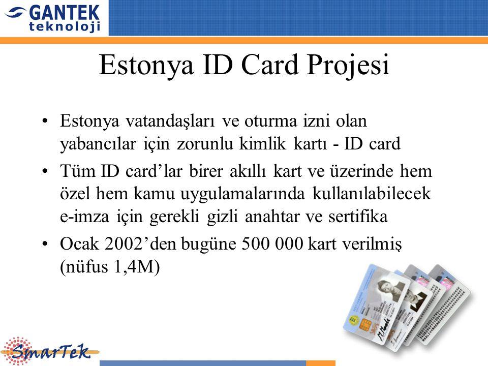 Estonya ID Card Projesi Estonya vatandaşları ve oturma izni olan yabancılar için zorunlu kimlik kartı - ID card Tüm ID card'lar birer akıllı kart ve ü