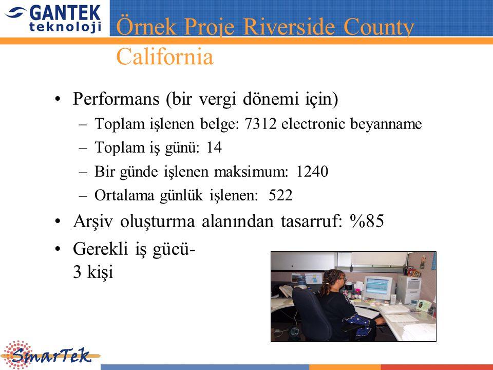 Performans (bir vergi dönemi için) –Toplam işlenen belge: 7312 electronic beyanname –Toplam iş günü: 14 –Bir günde işlenen maksimum: 1240 –Ortalama gü