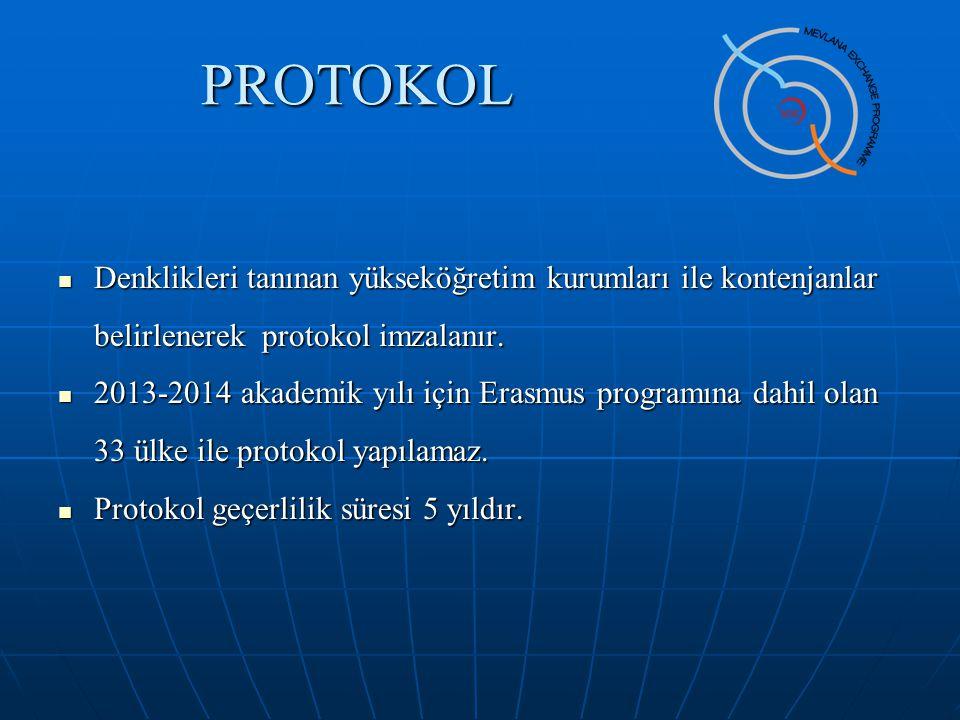 PROTOKOL Denklikleri tanınan yükseköğretim kurumları ile kontenjanlar belirlenerek protokol imzalanır. Denklikleri tanınan yükseköğretim kurumları ile