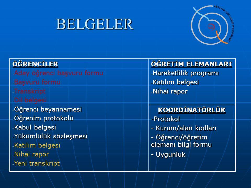 BELGELERÖĞRENCİLER - Aday öğrenci başvuru formu - Başvuru formu - Transkript - Dil belgesi - Öğrenci beyannamesi - Öğrenim protokolü - Kabul belgesi -