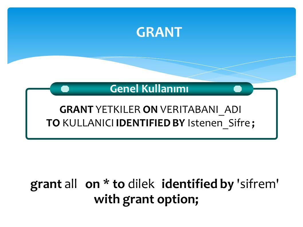 Genel Kullanımı GRANT YETKILER ON VERITABANI_ADI TO KULLANICI IDENTIFIED BY Istenen_Sifre ; GRANT grant allon *to dilekidentified by 'sifrem' with gra