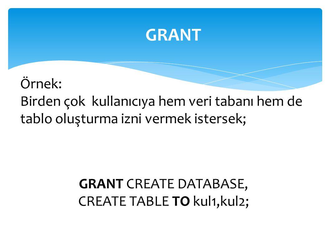 Örnek: Birden çok kullanıcıya hem veri tabanı hem de tablo oluşturma izni vermek istersek; GRANT GRANT CREATE DATABASE, CREATE TABLE TO kul1,kul2;