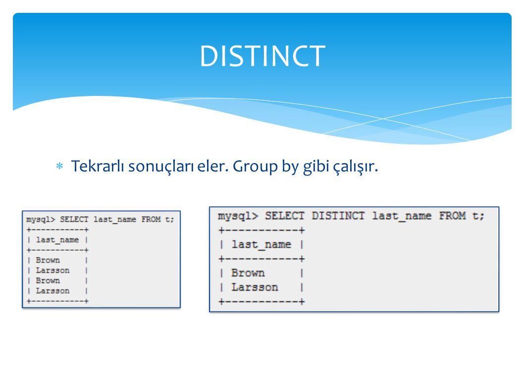  Tekrarlı sonuçları eler. Group by gibi çalışır. DISTINCT