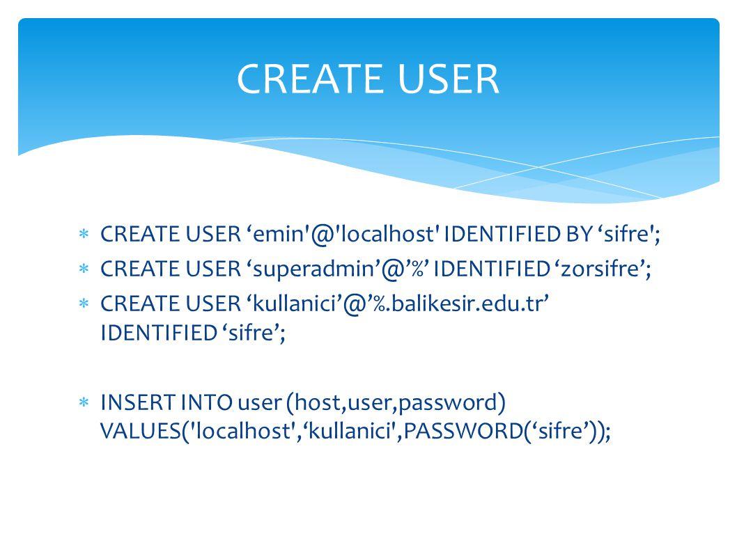  CREATE USER 'emin'@'localhost' IDENTIFIED BY 'sifre';  CREATE USER 'superadmin'@'%' IDENTIFIED 'zorsifre';  CREATE USER 'kullanici'@'%.balikesir.e