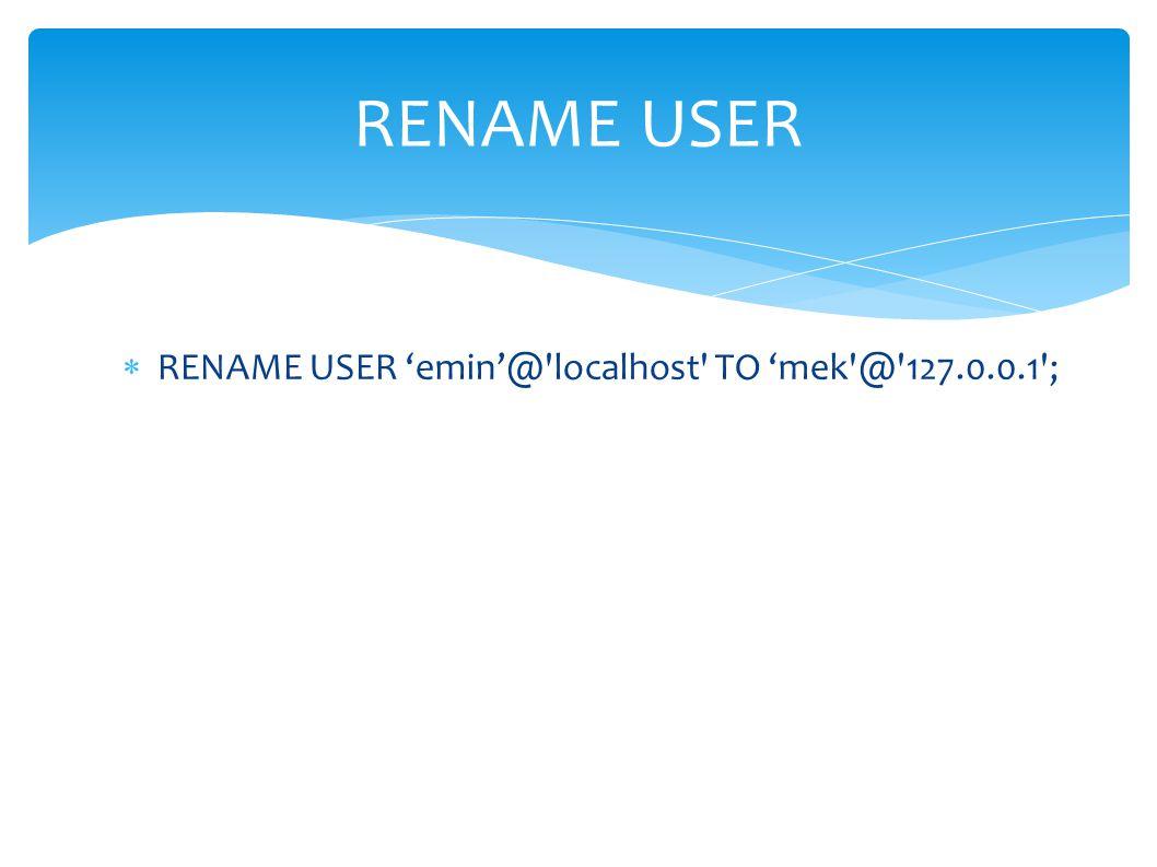 GRANT CREATE DATABASE ON deneme.* TO dilek @ 192.168.1.37 IDENTIFIED BY sifre1 ; Örnek: dilek kullanicisina deneme veritabani uzerinde sifre1 parolasi ile 192.168.1.37 ip_adresli makineden veritabanı oluşturma izni ile baglanabilmesi icin; GRANT