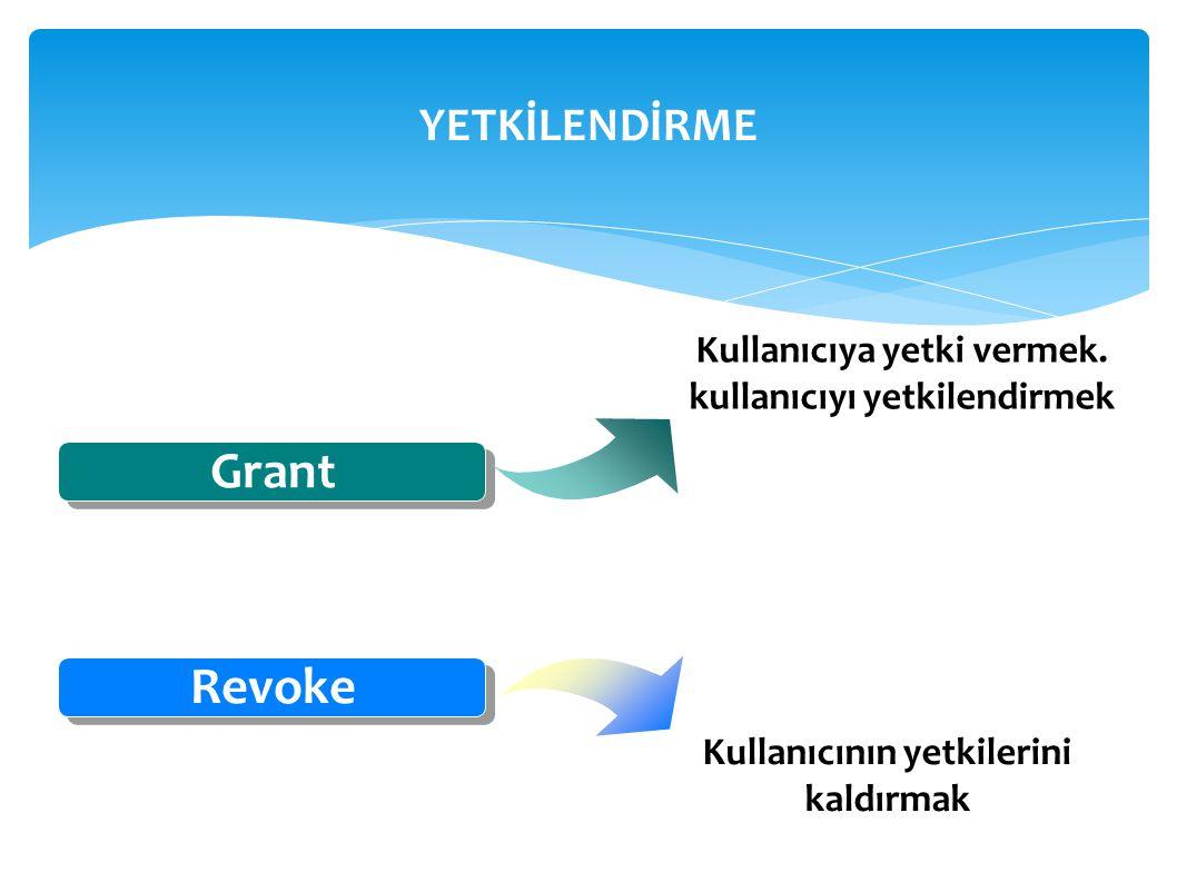 YETKİLENDİRME Grant Revoke Kullanıcıya yetki vermek. kullanıcıyı yetkilendirmek Kullanıcının yetkilerini kaldırmak