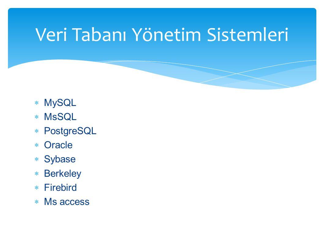  MySQL  MsSQL  PostgreSQL  Oracle  Sybase  Berkeley  Firebird  Ms access Veri Tabanı Yönetim Sistemleri