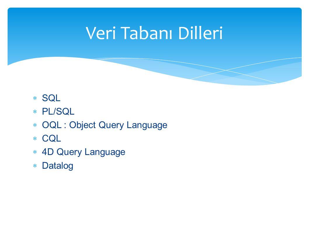  SQL  PL/SQL  OQL : Object Query Language  CQL  4D Query Language  Datalog Veri Tabanı Dilleri