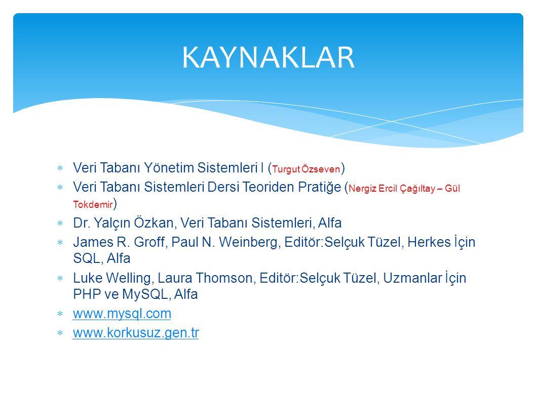  Veri Tabanı Yönetim Sistemleri I ( Turgut Özseven )  Veri Tabanı Sistemleri Dersi Teoriden Pratiğe ( Nergiz Ercil Çağıltay – Gül Tokdemir )  Dr. Y