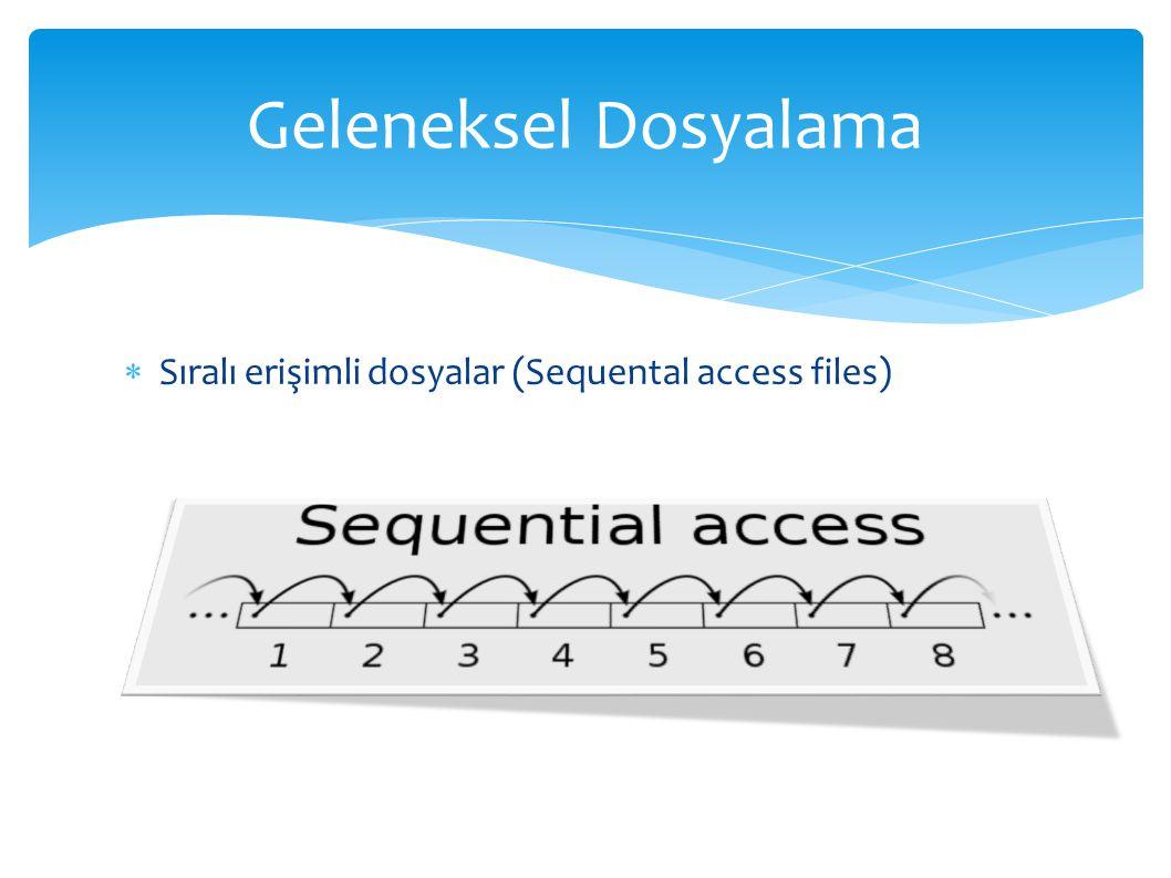  Sıralı erişimli dosyalar (Sequental access files) Geleneksel Dosyalama
