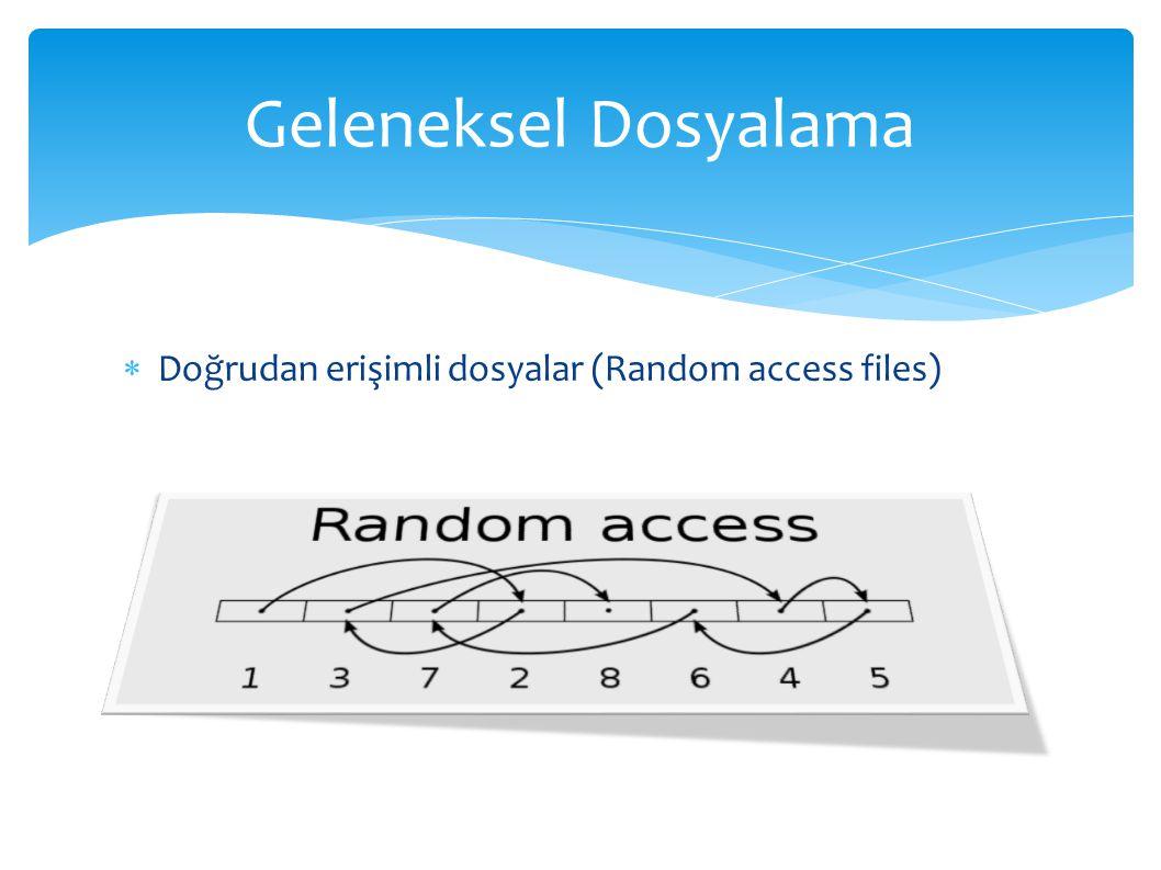  Doğrudan erişimli dosyalar (Random access files) Geleneksel Dosyalama
