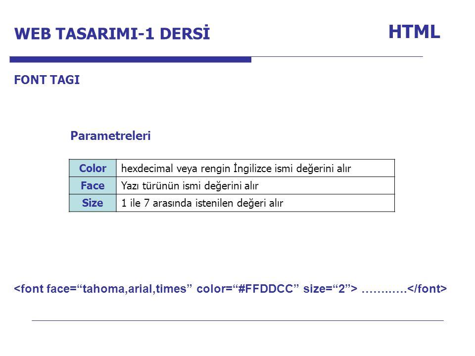 Internet Programcılığı -1 Dersi HTML FONT TAGI Colorhexdecimal veya rengin İngilizce ismi değerini alır FaceYazı türünün ismi değerini alır Size1 ile 7 arasında istenilen değeri alır Parametreleri ……..….