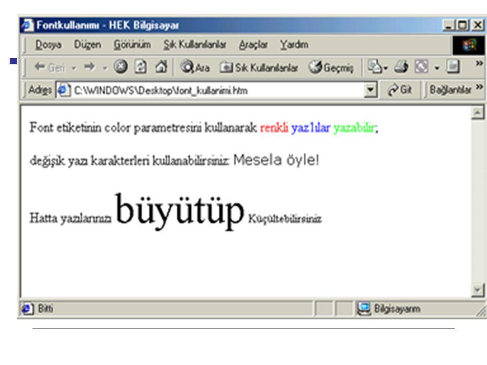 Internet Programcılığı -1 Dersi HTML Aşağıdaki ekran görüntüsünde de yukarıdaki örneğin nasıl çalıştığını görebilirsiniz.