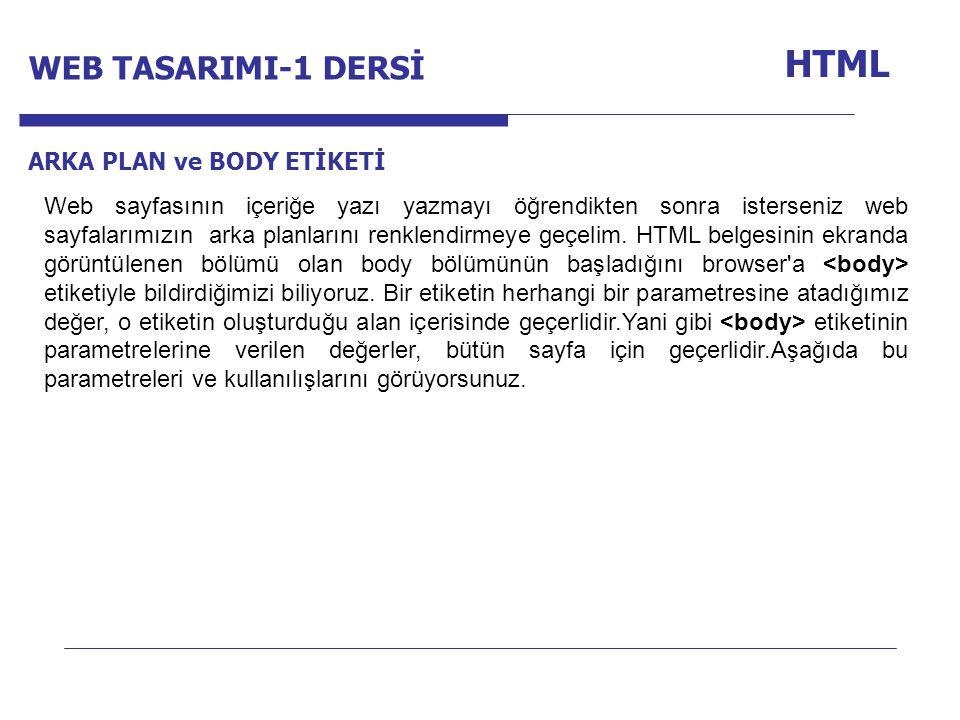 Internet Programcılığı -1 Dersi HTML ARKA PLAN ve BODY ETİKETİ Web sayfasının içeriğe yazı yazmayı öğrendikten sonra isterseniz web sayfalarımızın ark