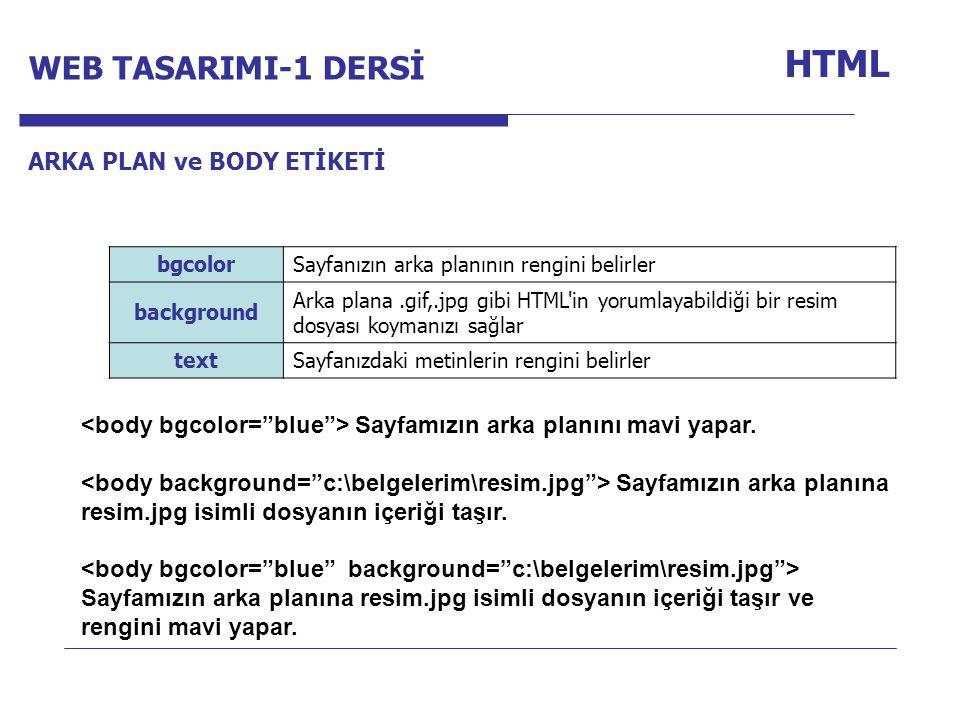 Internet Programcılığı -1 Dersi HTML bgcolorSayfanızın arka planının rengini belirler background Arka plana.gif,.jpg gibi HTML in yorumlayabildiği bir resim dosyası koymanızı sağlar textSayfanızdaki metinlerin rengini belirler Sayfamızın arka planını mavi yapar.