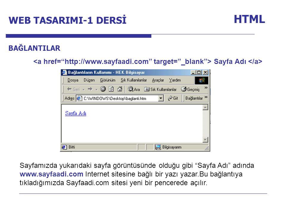 Internet Programcılığı -1 Dersi HTML BAĞLANTILAR Sayfa Adı Sayfamızda yukarıdaki sayfa görüntüsünde olduğu gibi Sayfa Adı adında www.sayfaadi.com Internet sitesine bağlı bir yazı yazar.Bu bağlantıya tıkladığımızda Sayfaadi.com sitesi yeni bir pencerede açılır.