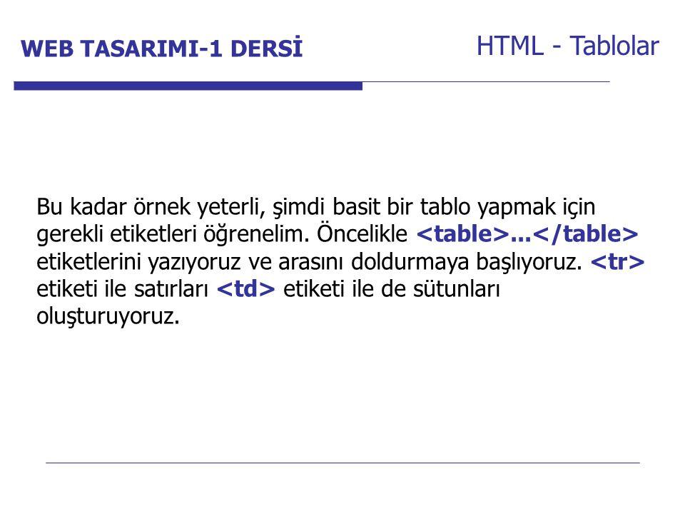 Internet Programcılığı -1 Dersi HTML - Tablolar Bu kadar örnek yeterli, şimdi basit bir tablo yapmak için gerekli etiketleri öğrenelim. Öncelikle... e